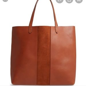 Madewell Suede Stripe Leather Tote